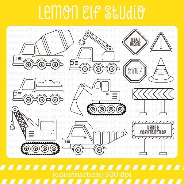 Construction Digital Stamp  Lemon Elf Studio    Mygrafico