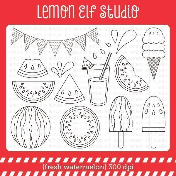 Fresh Watermelon Digital Stamp  Lemon Elf Studio    Mygrafico