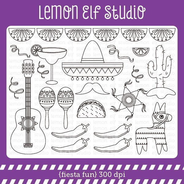 Fiesta Fun Digital Stamp  Lemon Elf Studio    Mygrafico