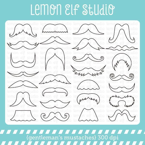 Gentleman's Mustaches Digital Stamp  Lemon Elf Studio    Mygrafico