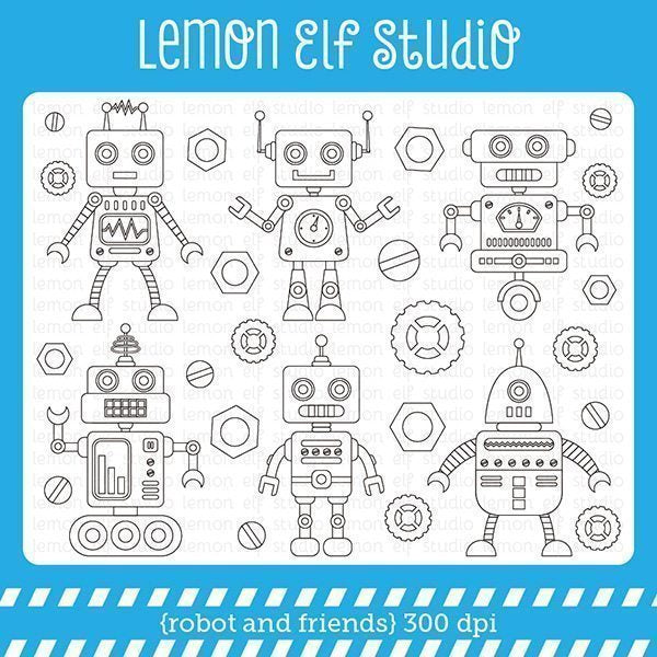 Robot and Friends Digital Stamp  Lemon Elf Studio    Mygrafico
