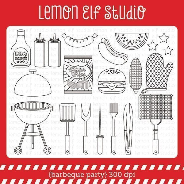 Barbeque Party Digital Stamp  Lemon Elf Studio    Mygrafico