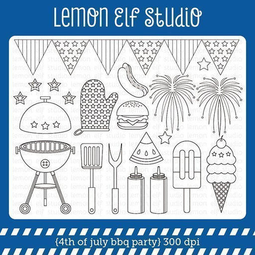 4th of July Bbq Party Digital Stamp digital stamps Lemon Elf Studio    Mygrafico