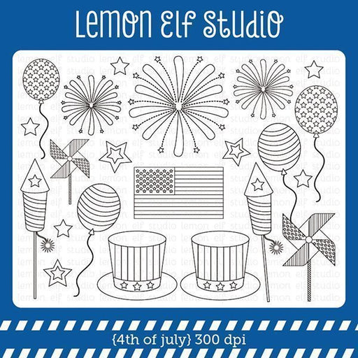 4th of July Digital Stamp digital stamp Lemon Elf Studio    Mygrafico