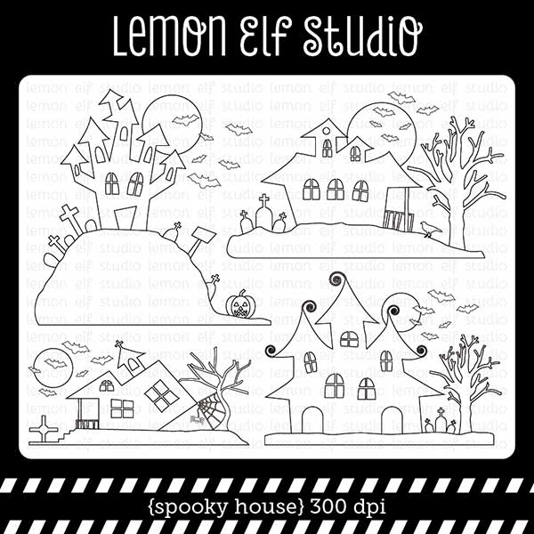 Spooky House Digital Stamp  Lemon Elf Studio    Mygrafico