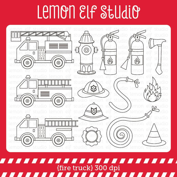 Fire Truck-Digital Stamp  Lemon Elf Studio    Mygrafico