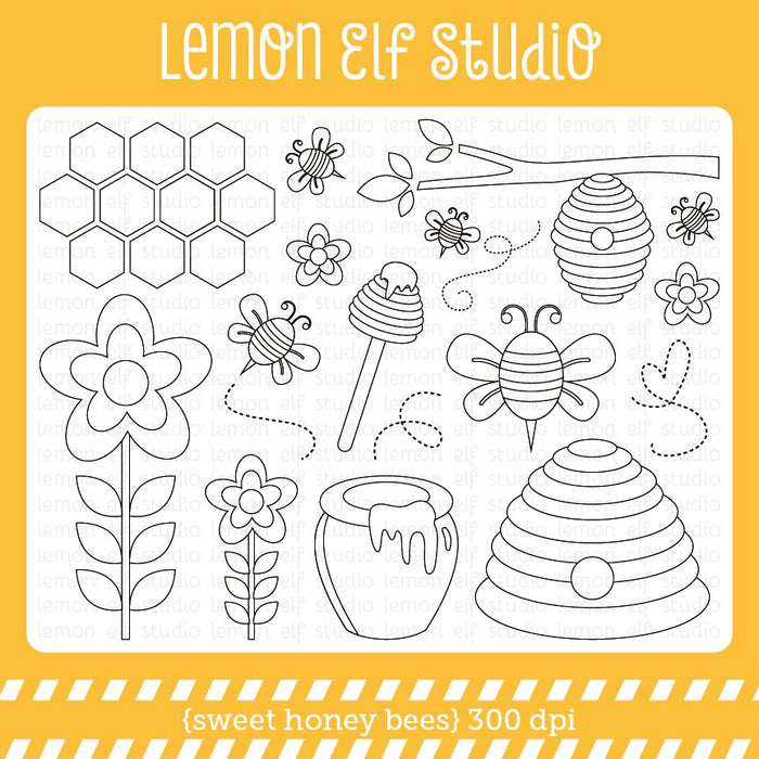 Sweet Honey Bees-Digital Stamp  Lemon Elf Studio    Mygrafico