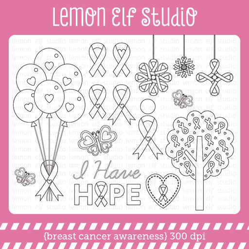 Breast Cancer Awareness Digital Stamp Digital Stamps Lemon Elf Studio    Mygrafico