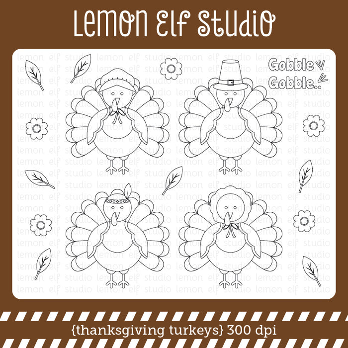 Thanksgiving Turkeys Digital Stamp  Lemon Elf Studio    Mygrafico