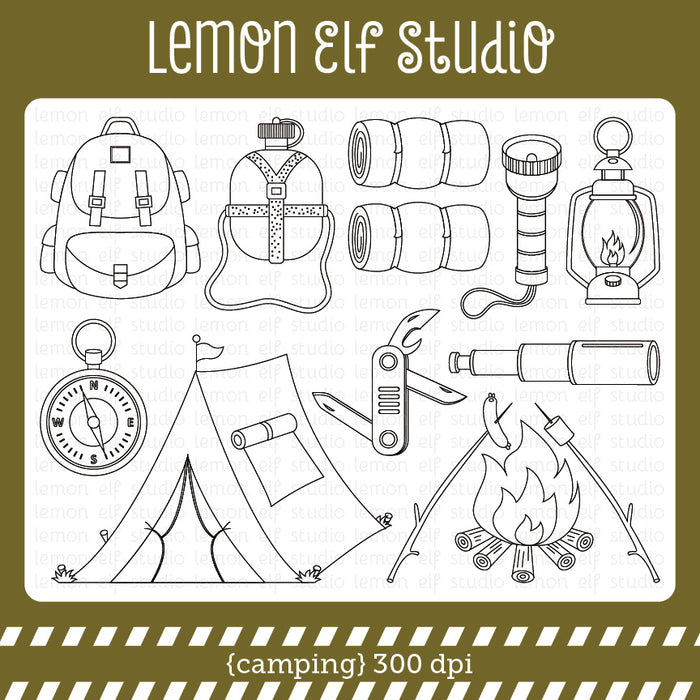 Camping Digital Stamp  Lemon Elf Studio    Mygrafico