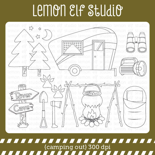 Camping Out Digital Stamp  Lemon Elf Studio    Mygrafico