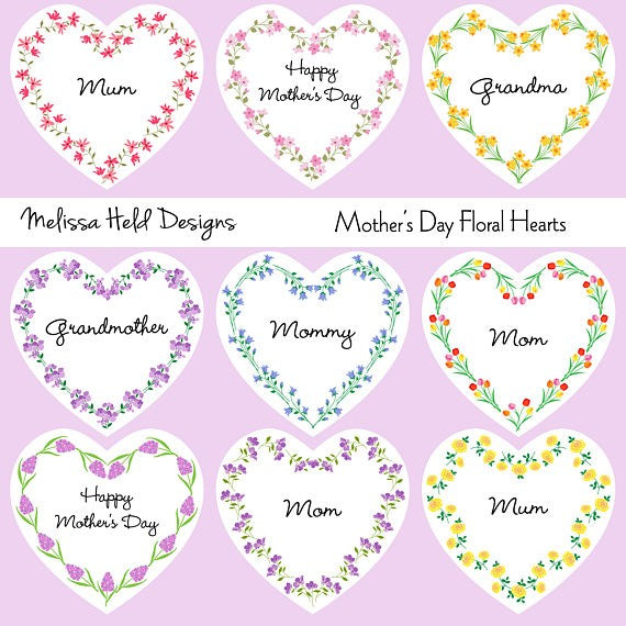 Mother's Day Floral Hearts Cliparts Melissa Held Designs    Mygrafico