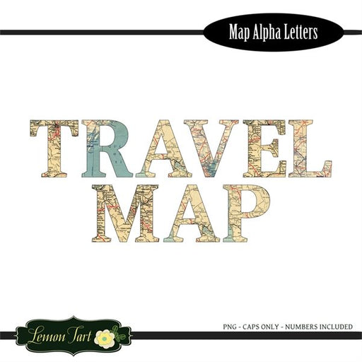 Travel Map Alphabet and numbers  Lemon Tart    Mygrafico