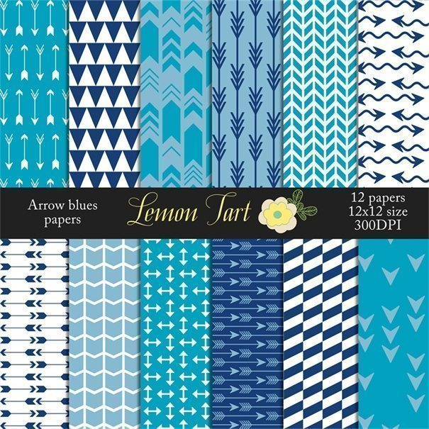 Blue Arrow digital papers  Lemon Tart    Mygrafico