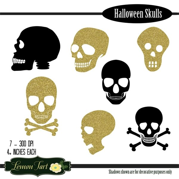 Black and Gold Skulls Halloween