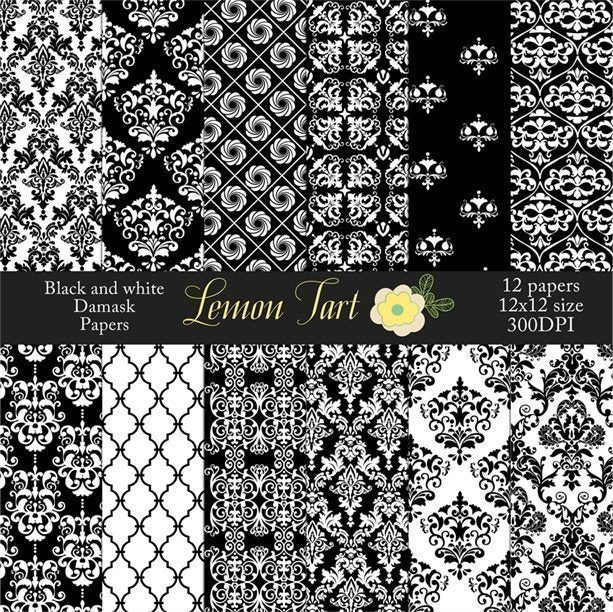 Black and white digital backgrounds damasks  Lemon Tart    Mygrafico
