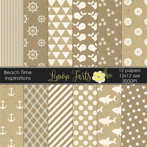 Beach inspirations Kraft and white digital paper  Lemon Tart    Mygrafico