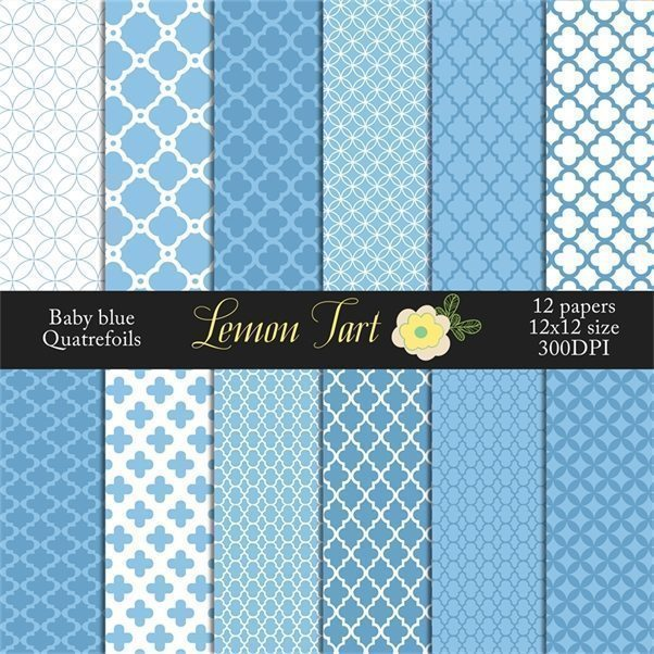 Blue Quartrefoil baby blue background  Lemon Tart    Mygrafico