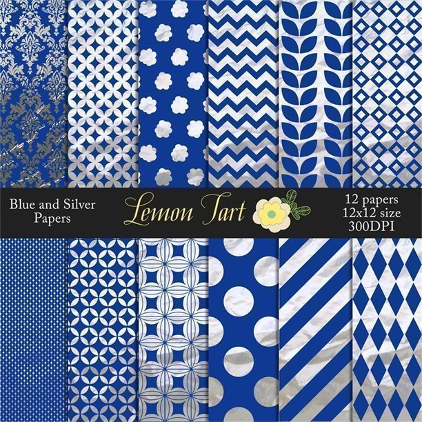 Blue and silver wrapping paper scrapbook papers  Lemon Tart    Mygrafico
