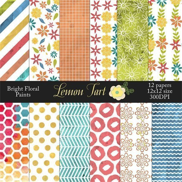 Bright Painted Floral papers  Lemon Tart    Mygrafico