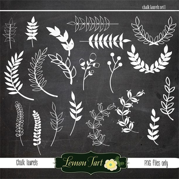 Chalk laurel leaves digital files  Lemon Tart    Mygrafico