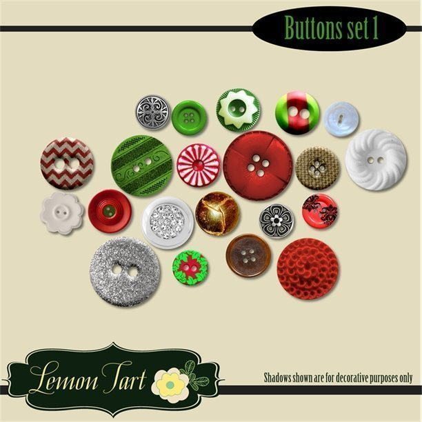 Christmas buttons in red, green, white, silver, and burlap  Lemon Tart    Mygrafico