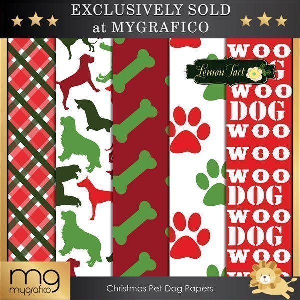 Christmas Dog Pet Digital Paper  Lemon Tart    Mygrafico
