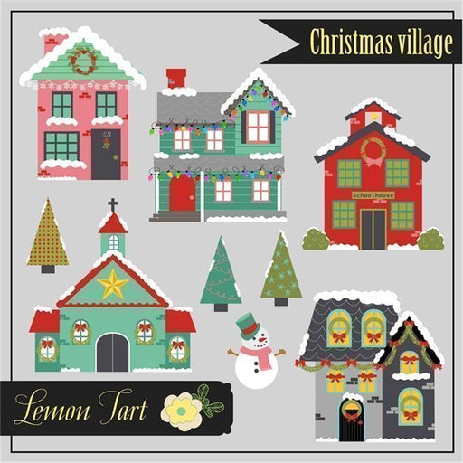 Christmas village with a snowman, Christmas trees, a school, a church, and homes all decorated for the holidays  Lemon Tart    Mygrafico