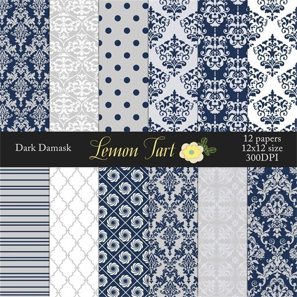 Navy Damask Background Papers  Lemon Tart    Mygrafico