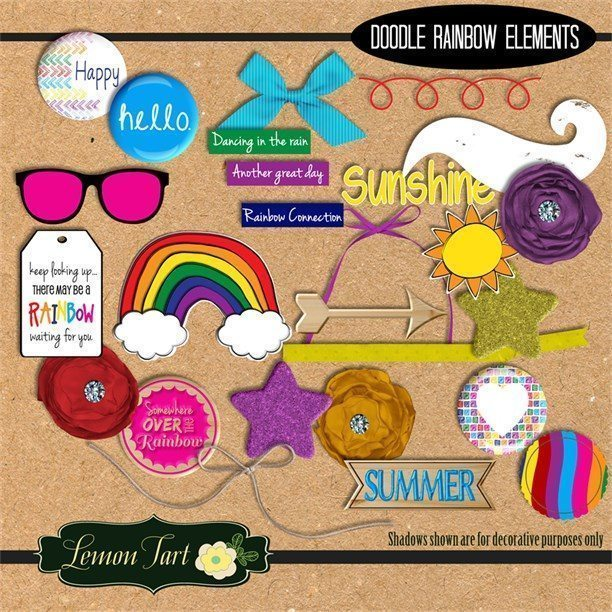 Doodle Rainbow Elements  Lemon Tart    Mygrafico