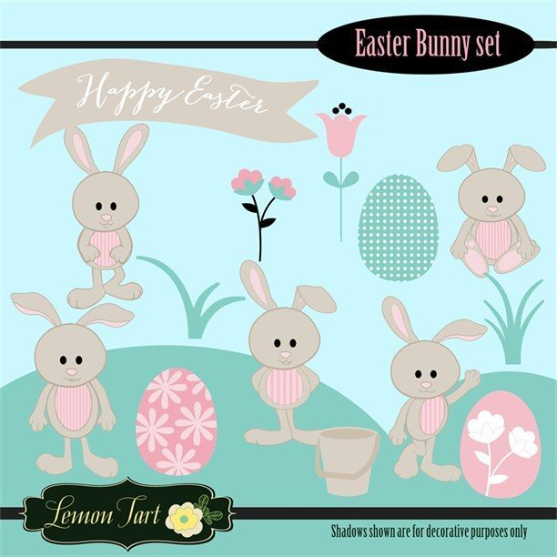 Easter Bunny Clipart Set Clipart Lemon Tart    Mygrafico