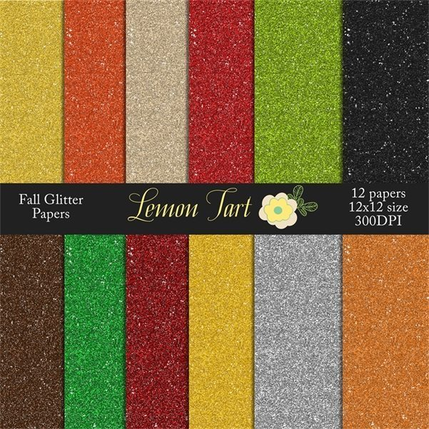 Fall Glitter Papers  Lemon Tart    Mygrafico