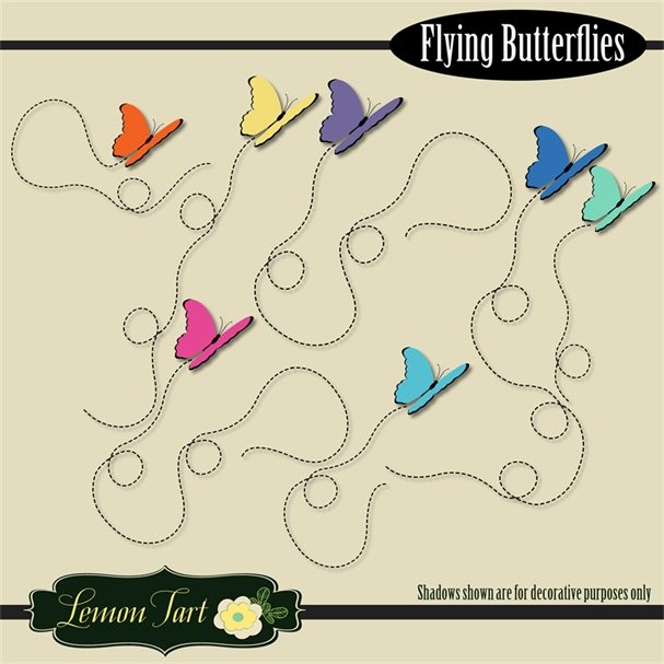 Butterflies flying trails bright colors  Lemon Tart    Mygrafico