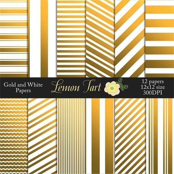 Gold foil and white stripes Digital Papers & Background Lemon Tart    Mygrafico