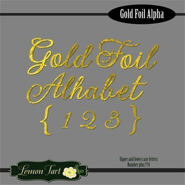 Gold Foil Alphabet number lower and upper case  Lemon Tart    Mygrafico