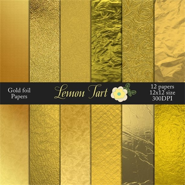 Gold foil background papers aluminum  Lemon Tart    Mygrafico