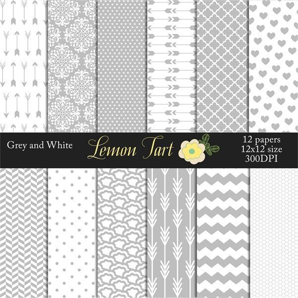 Grey Romance digital background papers  Lemon Tart    Mygrafico