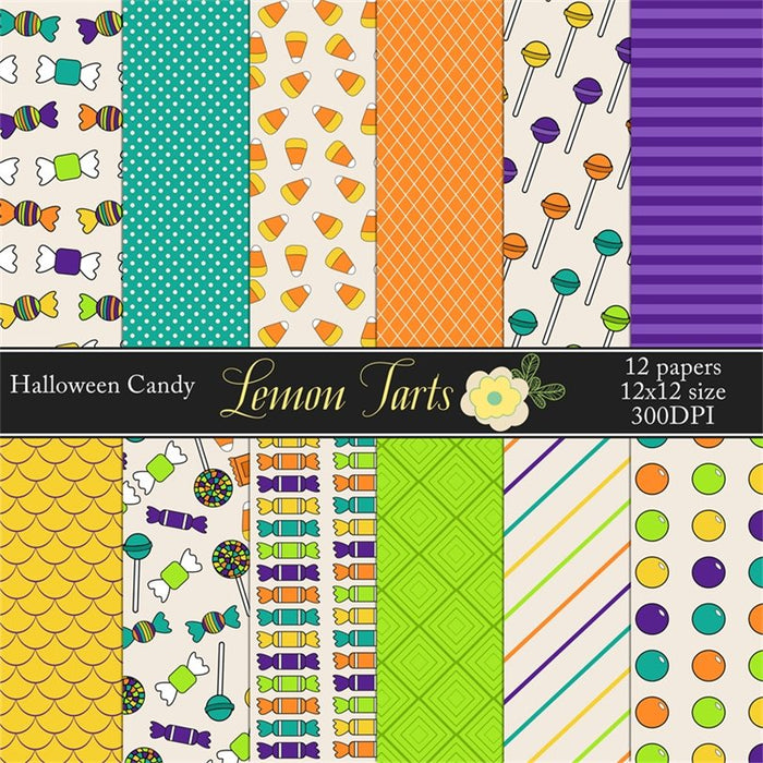 Hand Drawn Halloween candy Digital Papers & Backgrounds Lemon Tart    Mygrafico