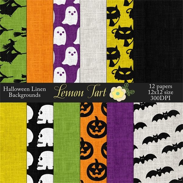 Halloween Linen burlap print backgrounds  Lemon Tart    Mygrafico