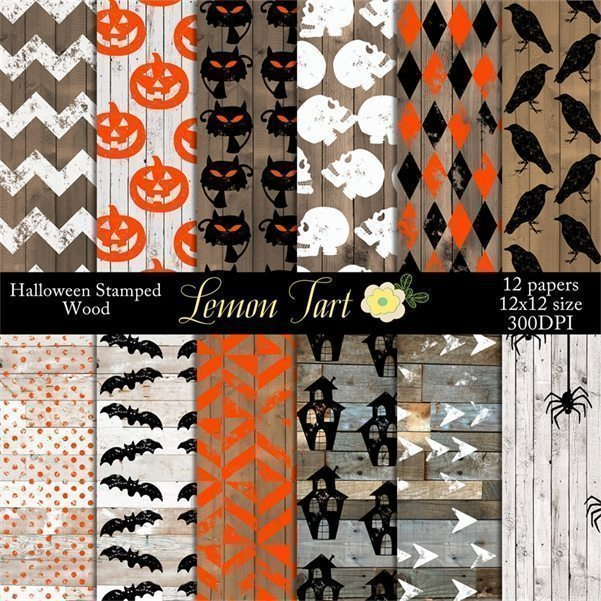 Stamped Halloween Painted wood background  Lemon Tart    Mygrafico