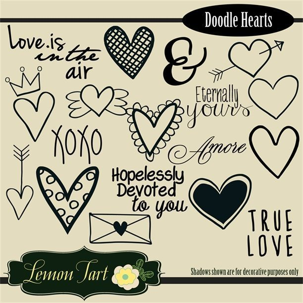 Hand drawn heart doodles and words  Lemon Tart    Mygrafico