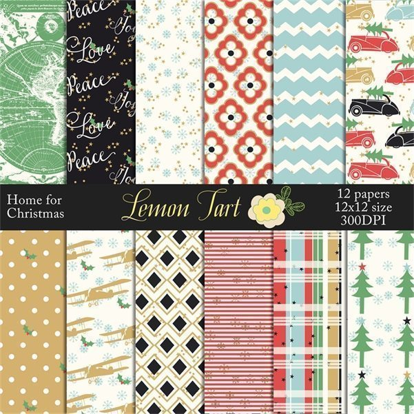 Christmas holiday car tree retro vintage digital papers Digital Papers & Backgrounds Lemon Tart    Mygrafico