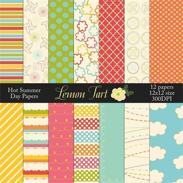 Hot summer days digital papers bright colors  Lemon Tart    Mygrafico