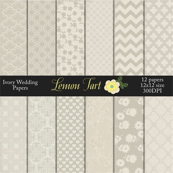 Ivory Wedding Neutral backgound damask flowers