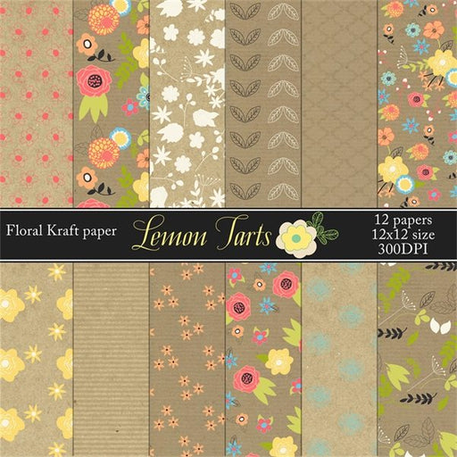 Digital kraft paper floral prints in colors  Lemon Tart    Mygrafico