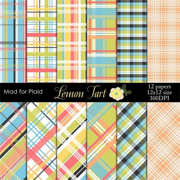 Mad for Plaid - Pastel plaid digital papers Digital Papers & Background Lemon Tart    Mygrafico