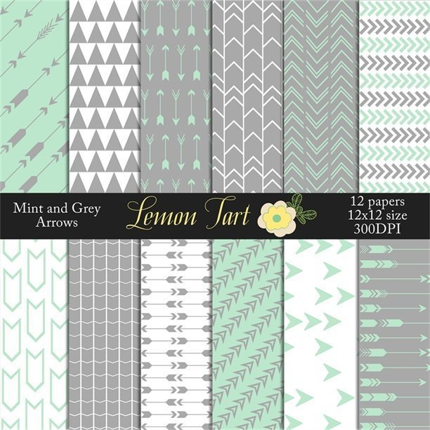 Mint and Grey Arrow designs  Lemon Tart    Mygrafico