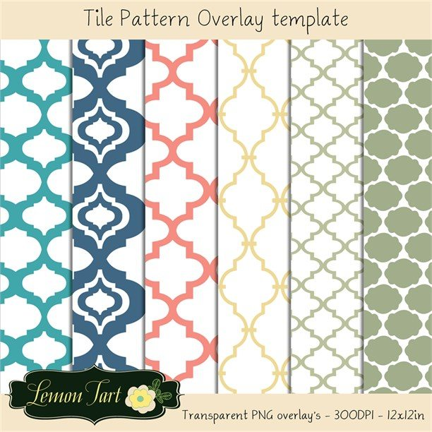 Moroccan Tile Template Overlays no background  Lemon Tart    Mygrafico