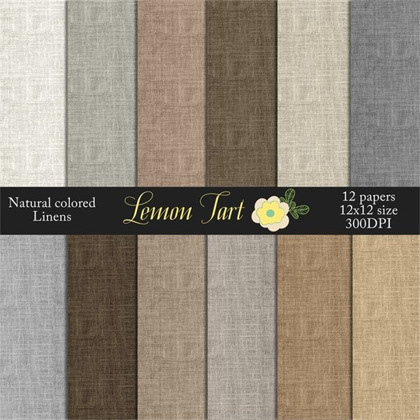 Natural Colored Linen Burlap grey tan brown  Lemon Tart    Mygrafico