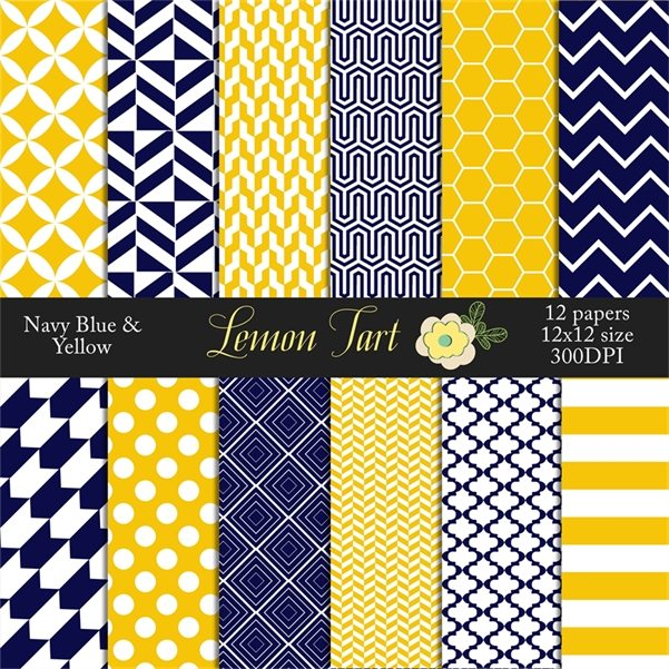 Navy blue and Yellow Digital scrapbook papers Digital Papers & Background Lemon Tart    Mygrafico